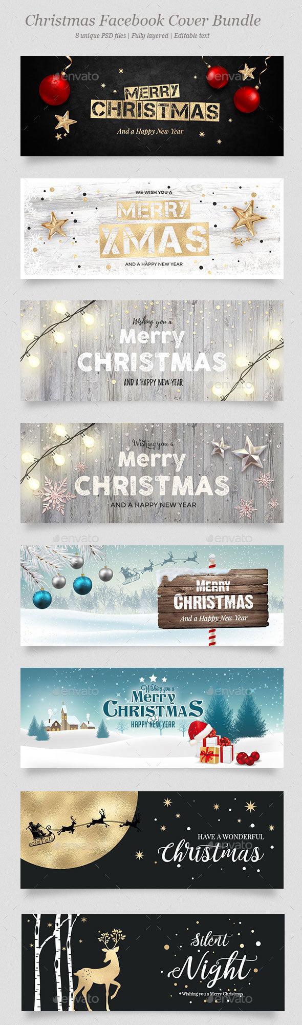 8 Christmas Facebook Banner Bundle - Facebook Timeline Covers Social Media