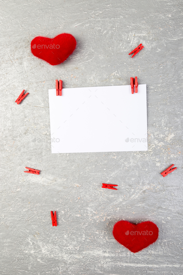 Valentine day. Greeting card with empty space near hearts - Stock Photo - Images