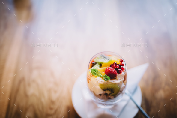 Glass filled with sweet fit dessert - Stock Photo - Images
