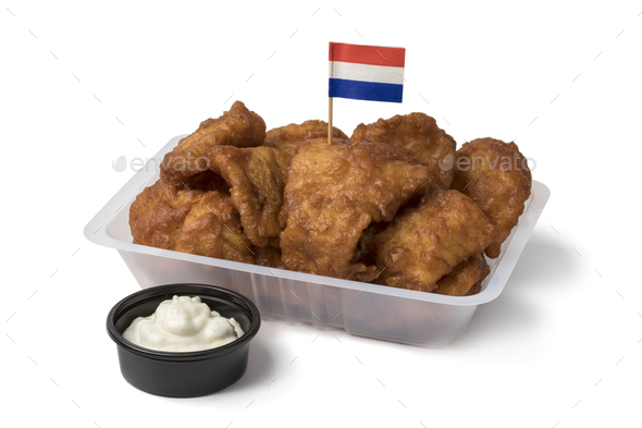Plastic bowl with traditional Dutch kibbeling and sauce - Stock Photo - Images