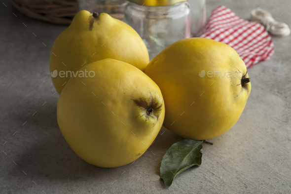 Fresh yellow quinces - Stock Photo - Images