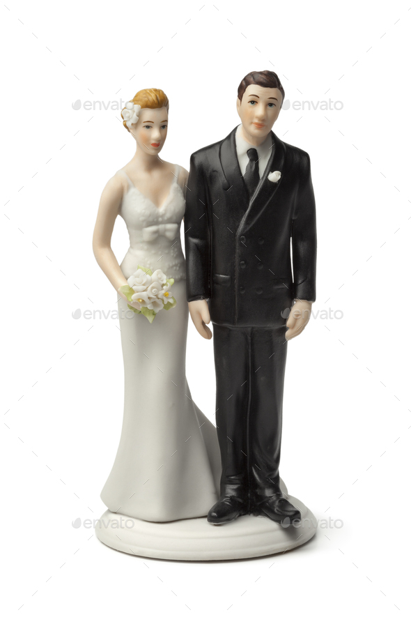 Bride and groom  cake topper - Stock Photo - Images
