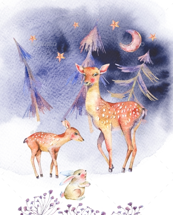 Watercolor Card with Cute Deer and Fawn - Nature & Animals Isolated Objects