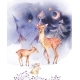 Watercolor Card with Cute Deer and Fawn