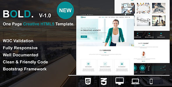 Bold - One Page Creative HTML5 Responsive Business Template Free Download | Nulled