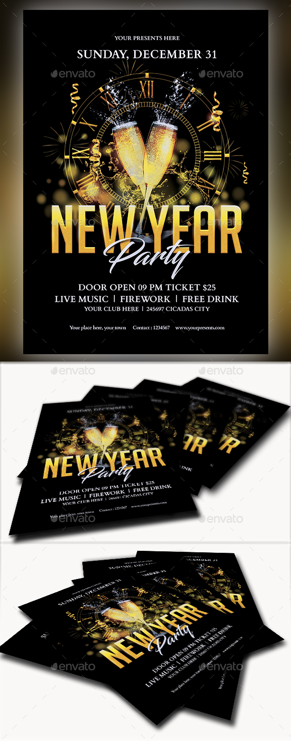 GraphicRiver New Year Part Flyer 21118980