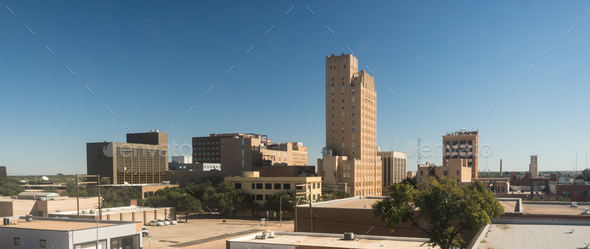 Fall Afternoon Blue Sky Lubbock Texas Downtown City Skyline - Stock Photo - Images
