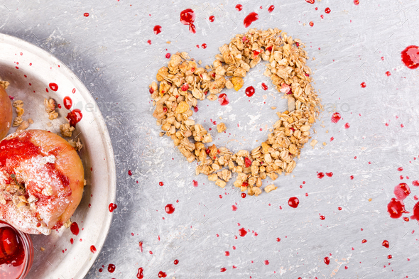 Heart from Granola - Stock Photo - Images