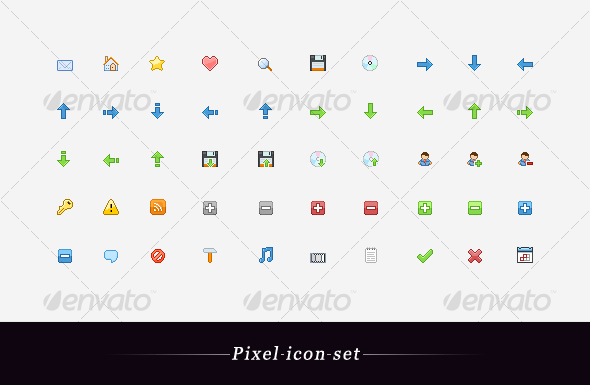 Pixel icon set - Web Icons