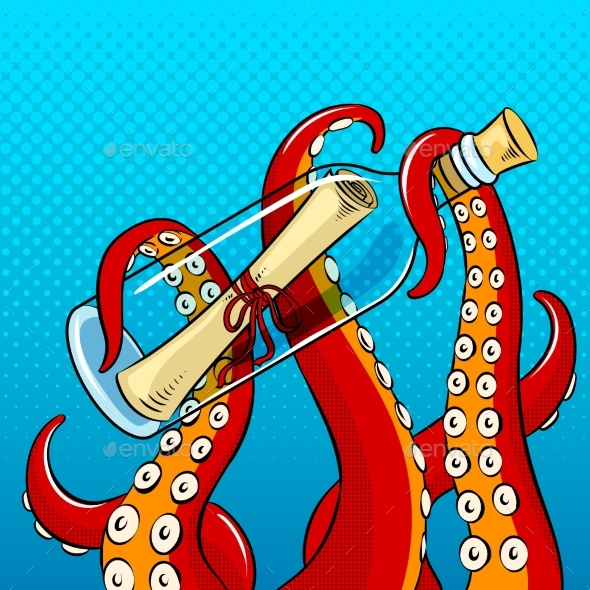 Octopus and Message in Bottle Pop Art Vector - Animals Characters