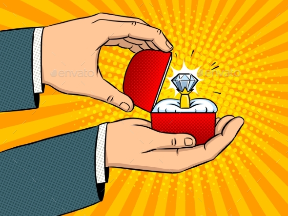 GraphicRiver Hands Precious Ring Pop Art Vector Illustration 21119275