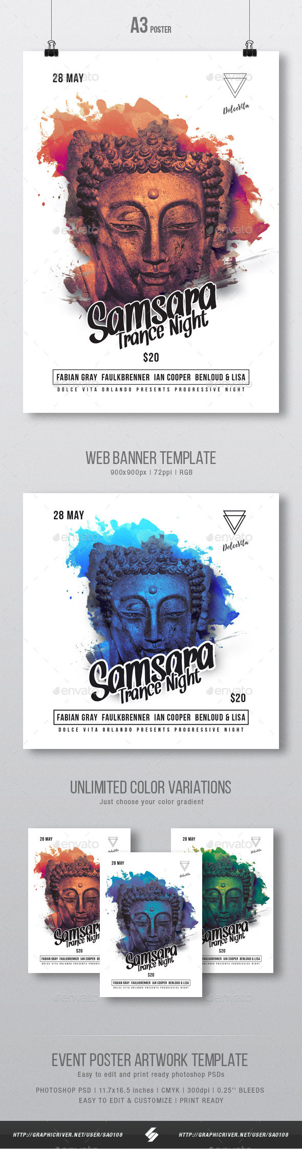 Samsara Trance Party Flyer / Poster Template A3 - Clubs & Parties Events