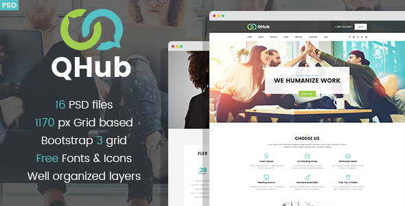 Download QHub - Сoworking And Office Space PSD template            nulled nulled version