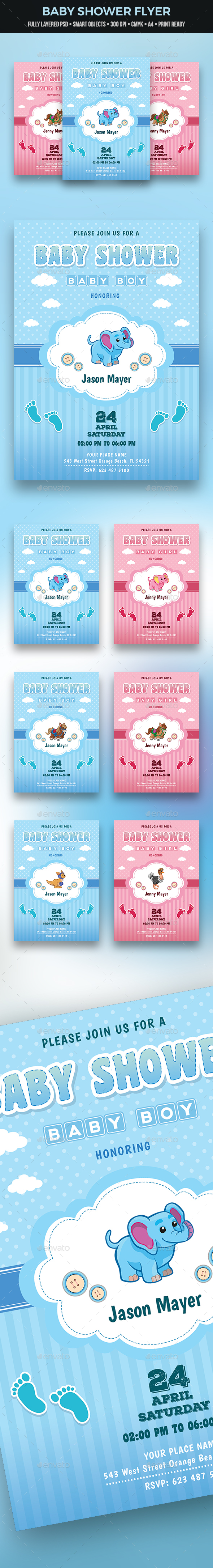 Baby Shower Flyer - Cards & Invites Print Templates