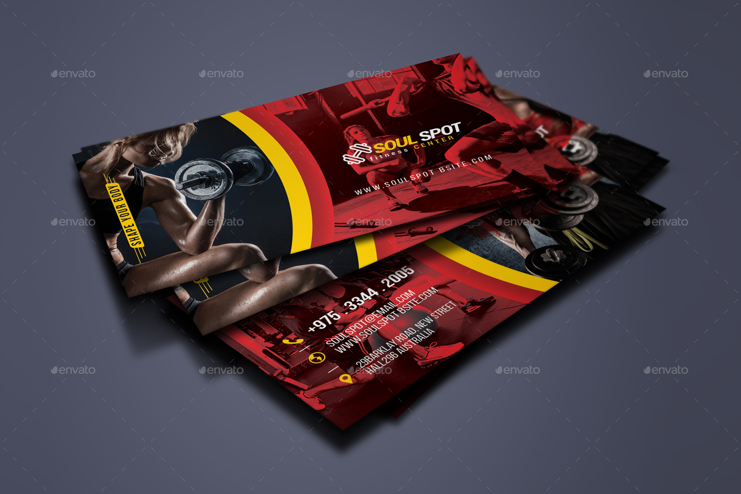 Fitness Business Card by designsoul14 | GraphicRiver