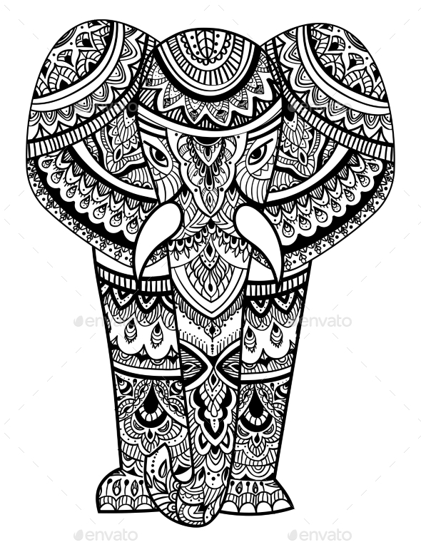 Stylized Head of an Elephant. Ornamental Portrait - Animals Characters