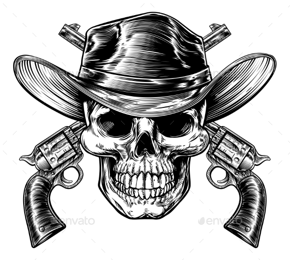 Cowboy Skull and Pistols - Miscellaneous Vectors
