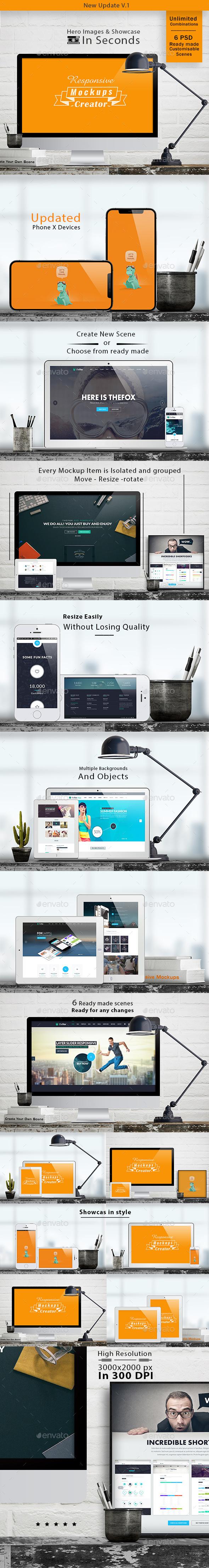 Responsive Mockups Creator - Showcase & Hero Images - Multiple Displays