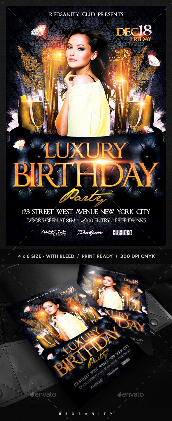 Luxury Birthday Party Flyer - Clubs & Parties Events