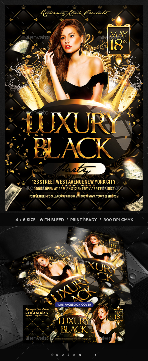 Luxury Black Party Flyer Plus FB Cover - Clubs & Parties Events