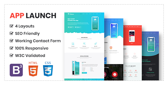App Launch - App Landing Page HTML5 Template - Technology Site Templates