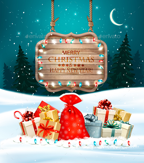 GraphicRiver Christmas Holiday Background With Presents and Wooden Board 21120244