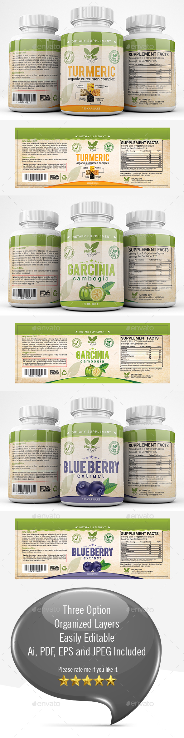 Dietary Supplement label Template - Packaging Print Templates