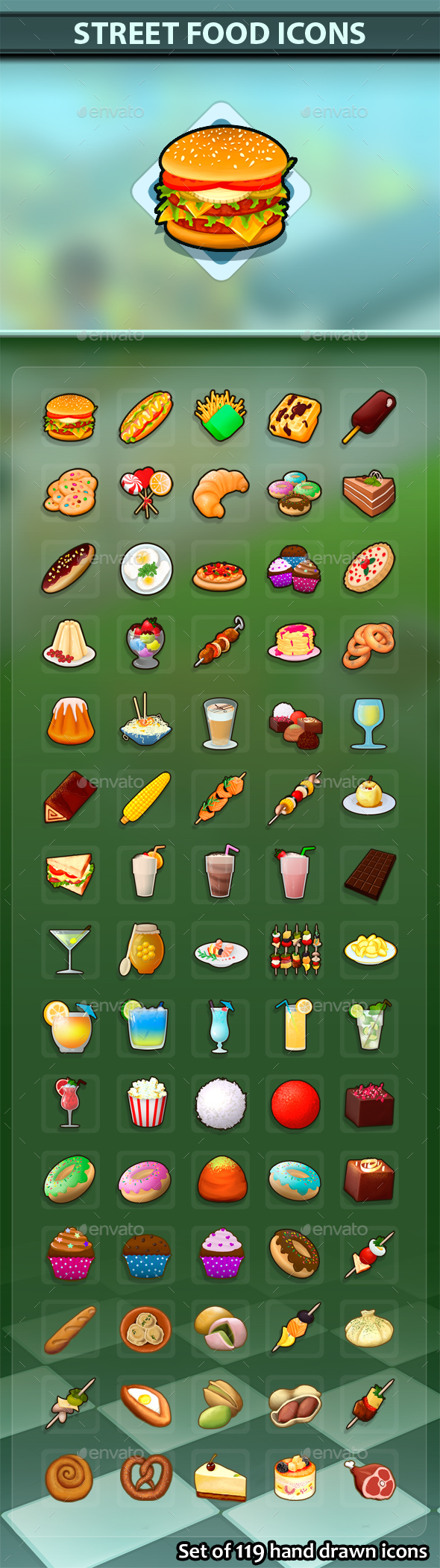 GraphicRiver Street Food Icons 21120343