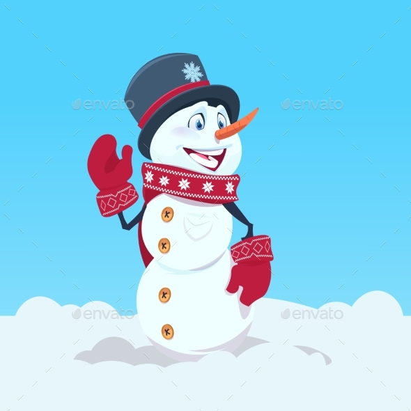 GraphicRiver Snowman Wearing Hat and Scarf Happy Smiling 21120344