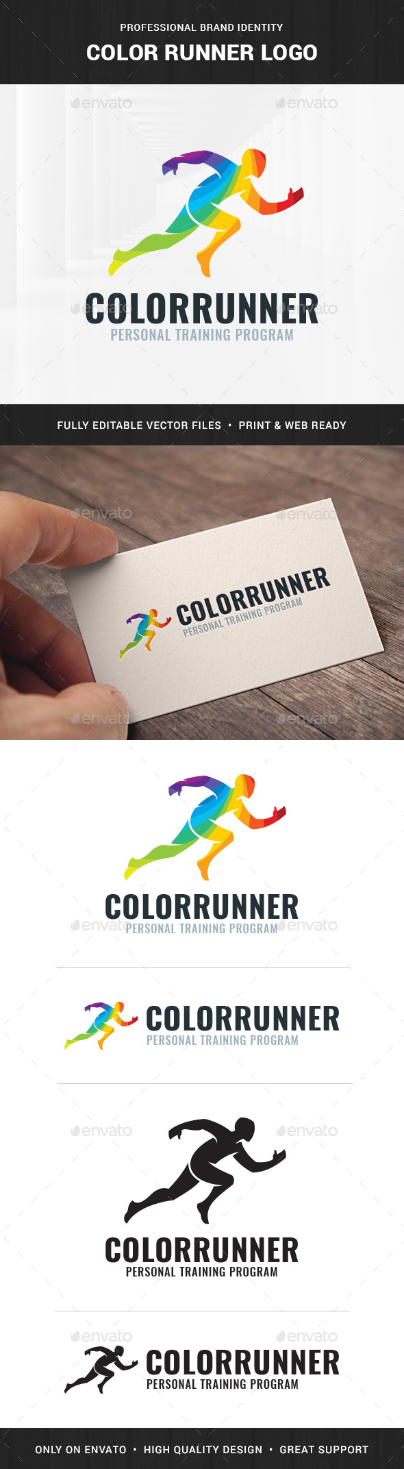 Color Runner Logo Template - Humans Logo Templates