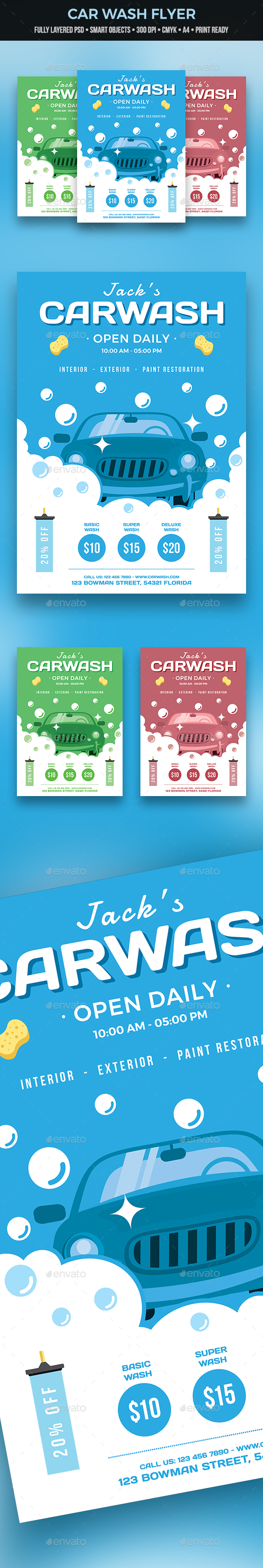 GraphicRiver Car Wash Flyer 21120510