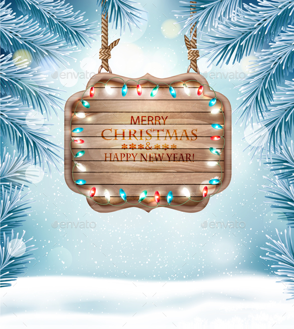 GraphicRiver Merry Christmas Background with Branches and Wooden Board 21120581