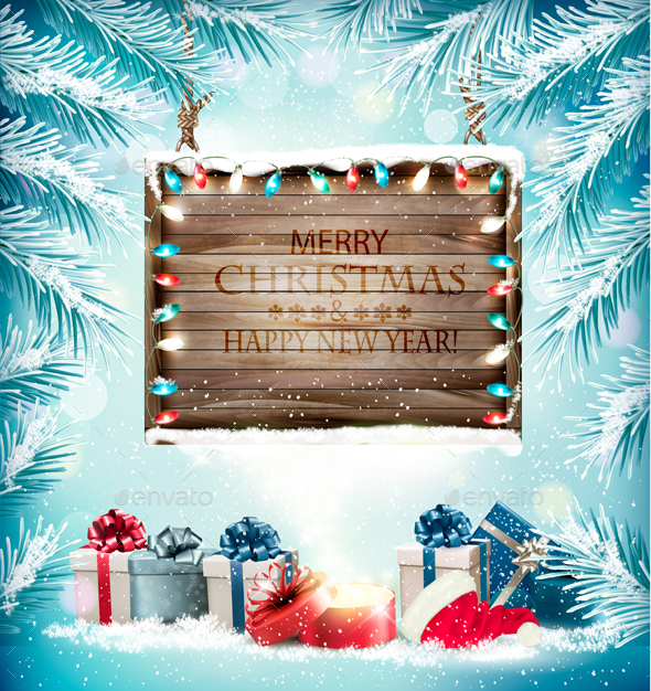 Christmas Holiday Background With Presents and Wooden Board - Christmas Seasons/Holidays