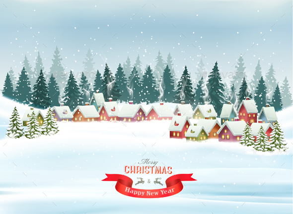 Christmas Holiday Background with Landscape - Christmas Seasons/Holidays
