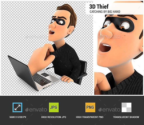 GraphicRiver 3D Big Hand Catching Hacker Through a Laptop 21120624