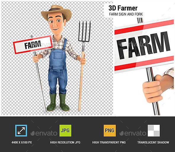 GraphicRiver 3D Farmer with Farm Sign and Fork 21120632