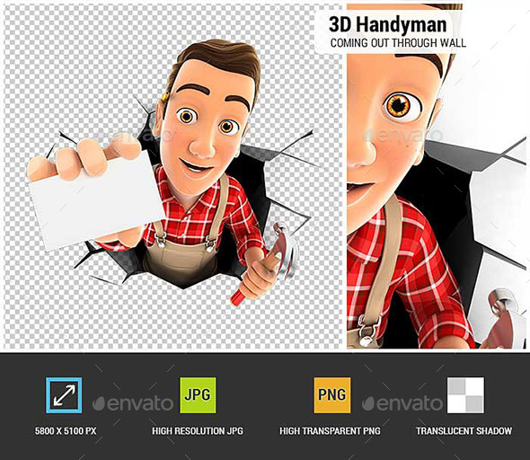 GraphicRiver 3D Handyman Coming Out Through a Wall with Company Card 21120644
