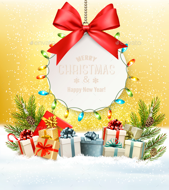 Christmas Holiday Background With Presents and Branches - Christmas Seasons/Holidays