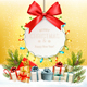 Christmas Holiday Background With Presents and Branches