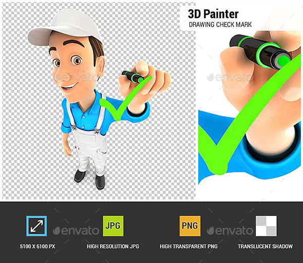 GraphicRiver 3D Painter Drawing Positive Check Mark 21120655