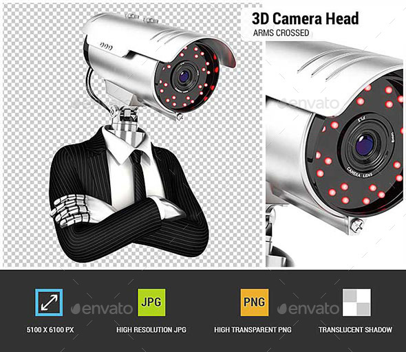 GraphicRiver 3D Security Agent with Camera Head 21120669