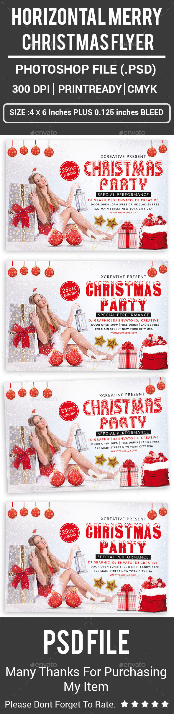 GraphicRiver Horizontal Merry Christmas Flyer 21117412