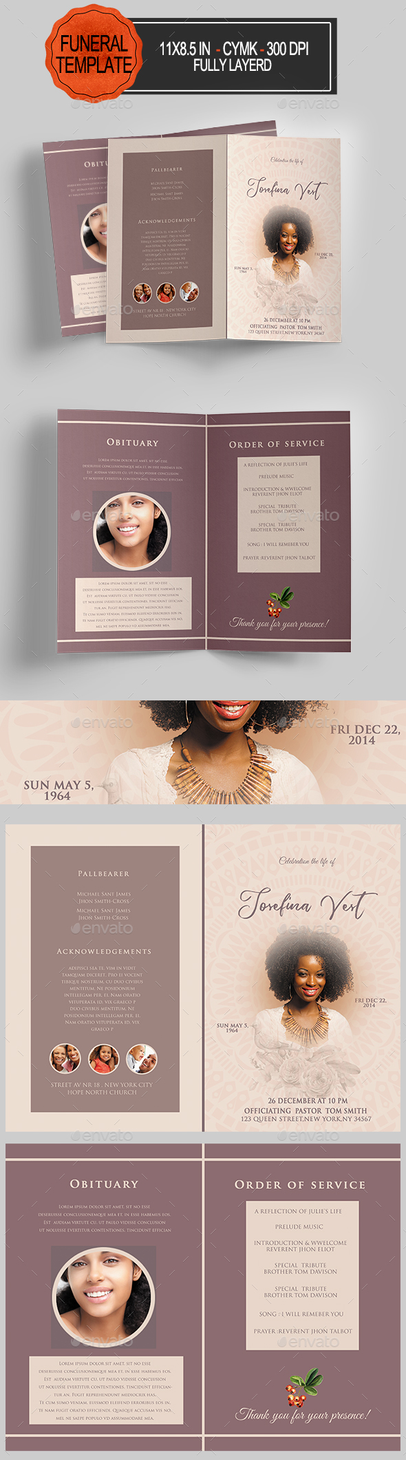 GraphicRiver Funeral Program Template 21120805