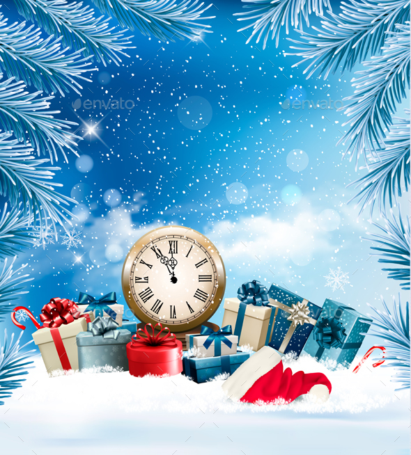 GraphicRiver Christmas Holiday Background and Presents with Clock 21120810