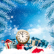 Christmas Holiday Background and Presents with Clock