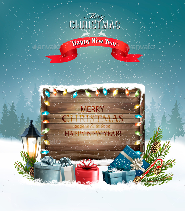 Merry Christmas Banners with Branches and Gift Boxes - Christmas Seasons/Holidays