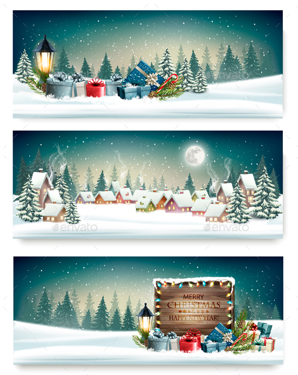 Three Holiday Christmas Banners - Christmas Seasons/Holidays