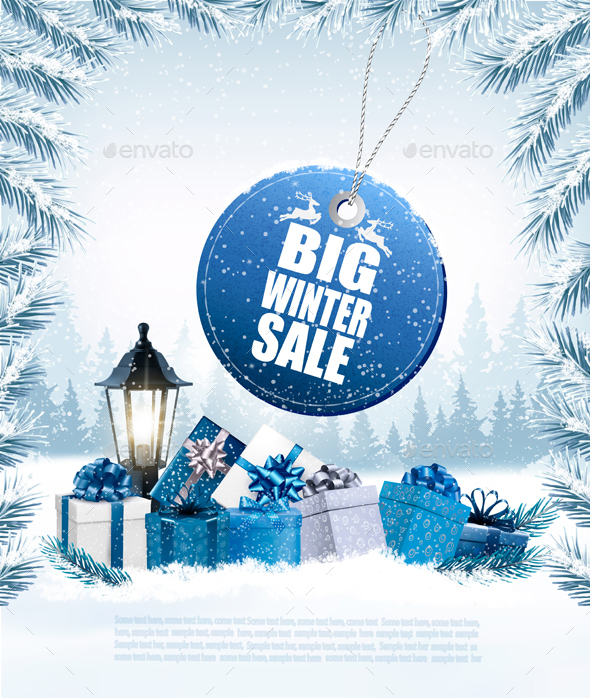 Christmas Holiday Banners with Presents and Sale - Retail Commercial / Shopping