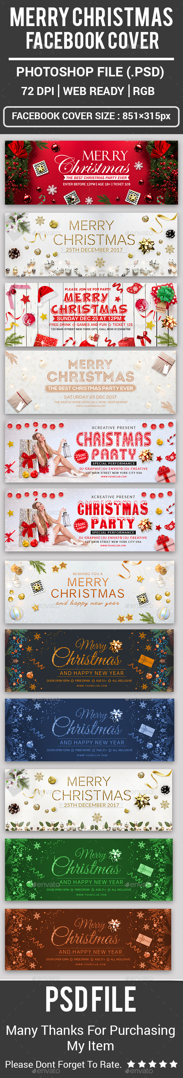 GraphicRiver Merry Christmas Facebook Covers 21120908