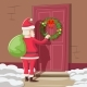 Santa Claus with Gift Bag Knocks - GraphicRiver Item for Sale